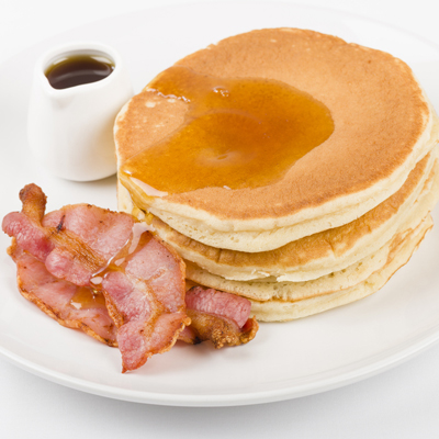 The River Café's freshy made Pancakes with Bacon & Maple Syrup