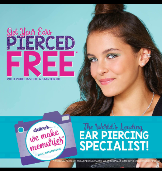 Free Ear Piercing at Claire's Accessories