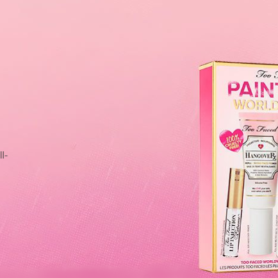 Too Faced Paint the world pink set, featuring 3 full sized products